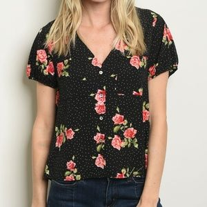 Black floral rose button up top